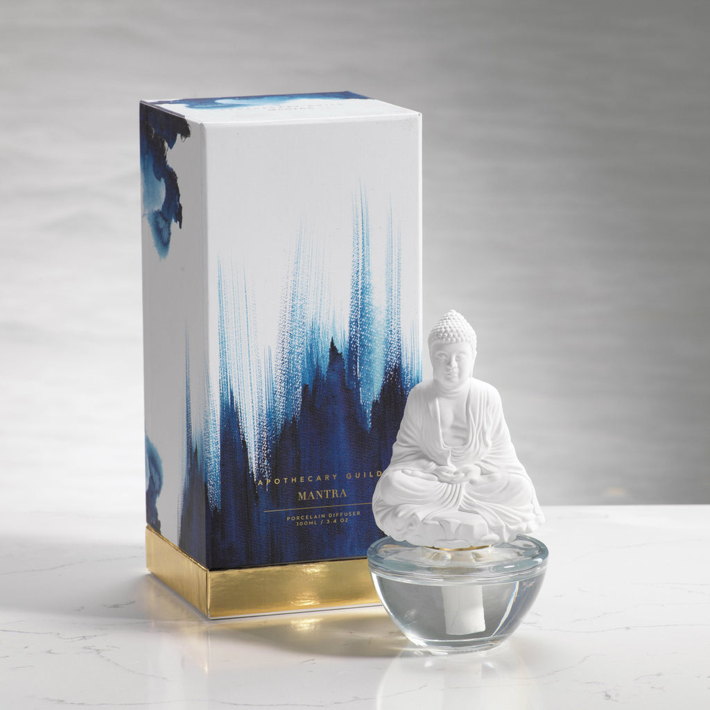 Apothecary Guild Mantra Buddha Porcelain Diffuser - Blue Lotus - Porcelain Diffuser - CARLYLE AVENUE - 2