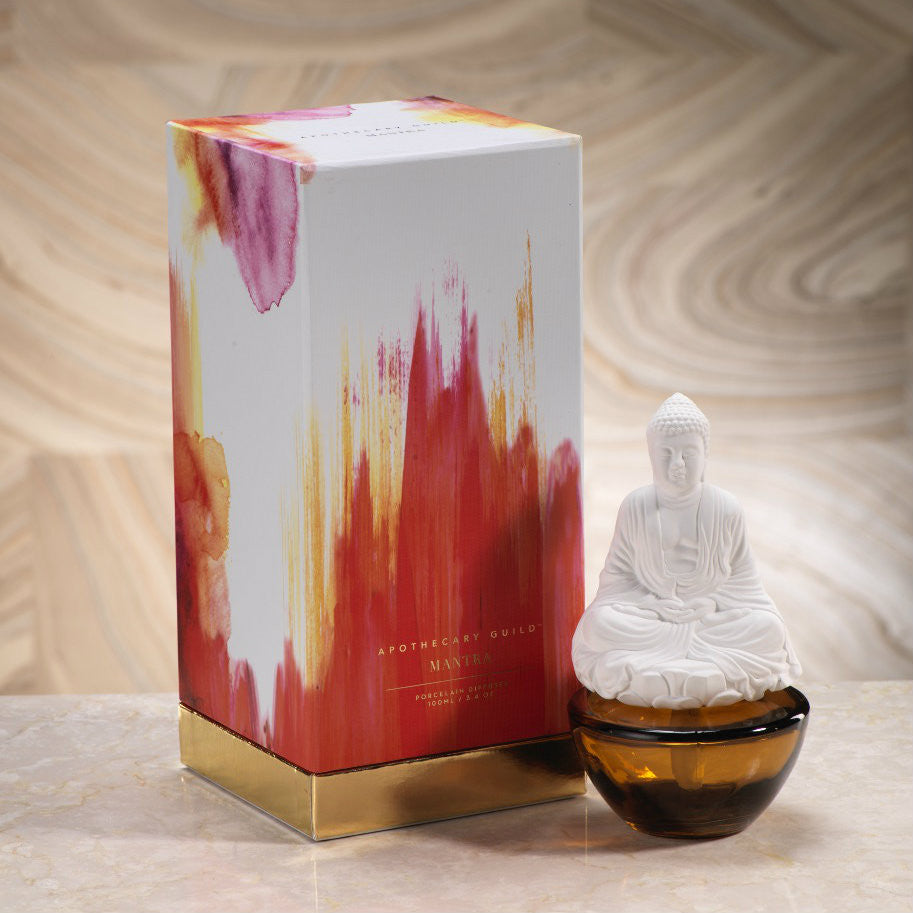 Apothecary Guild Mantra Buddha Porcelain Diffuser - Peppered Smoke - CARLYLE AVENUE