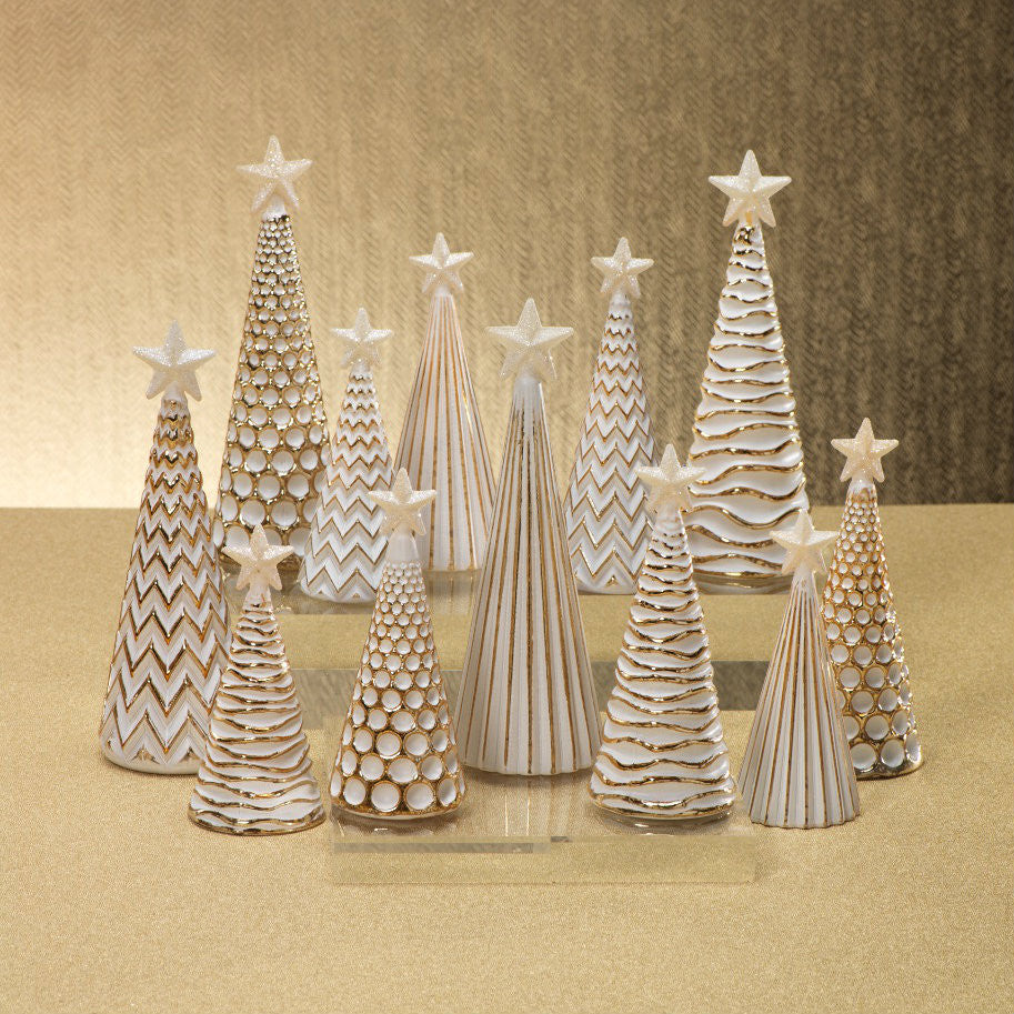LED Glass Decorative Tree - Gold - Set of 6 -  - CARLYLE AVENUE - 1