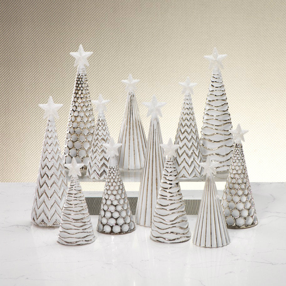 LED Glass Decorative Tree - Silver - Set of 6 -  - CARLYLE AVENUE - 1