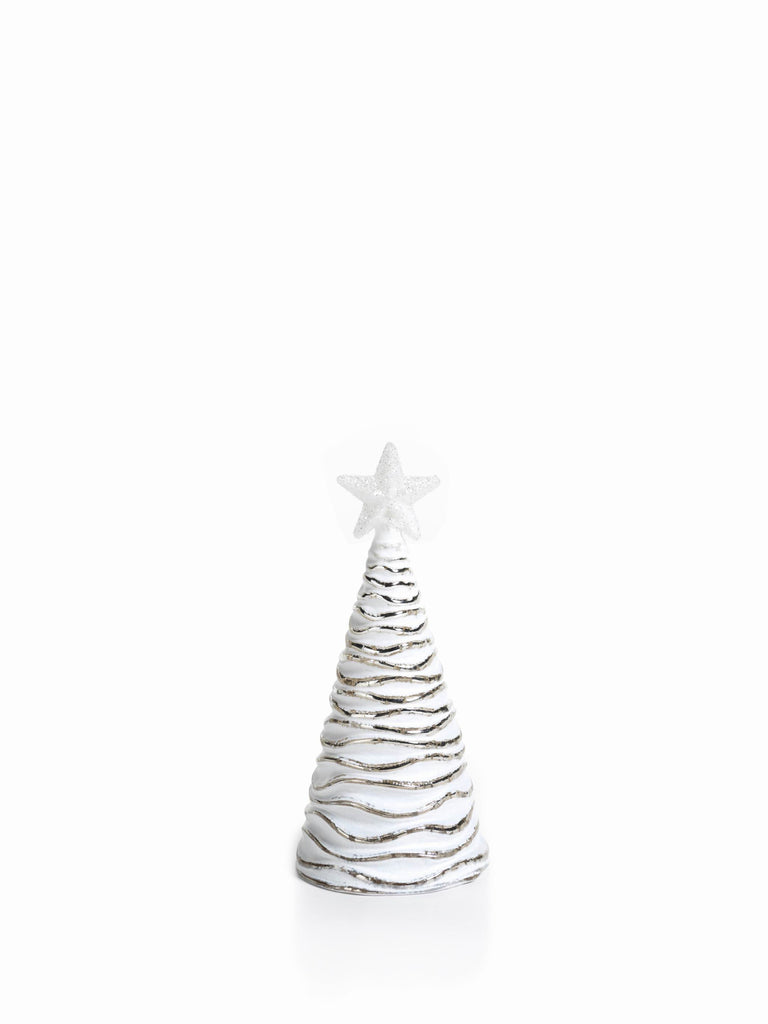 LED Glass Decorative Tree - Silver - Set of 6 - Small / Wavy - CARLYLE AVENUE - 3