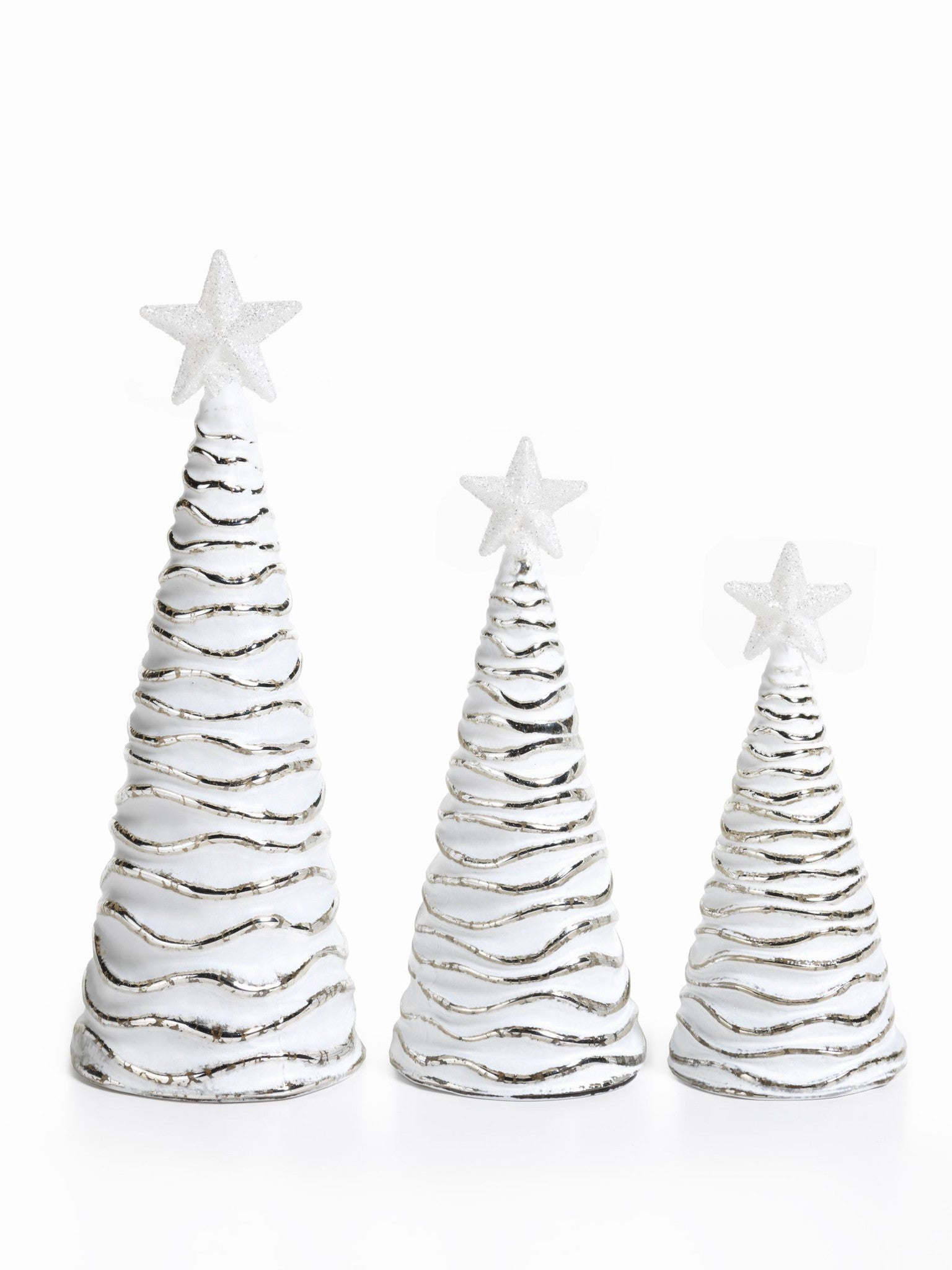 LED Glass Decorative Tree - Silver - Set of 6 -  - CARLYLE AVENUE - 2