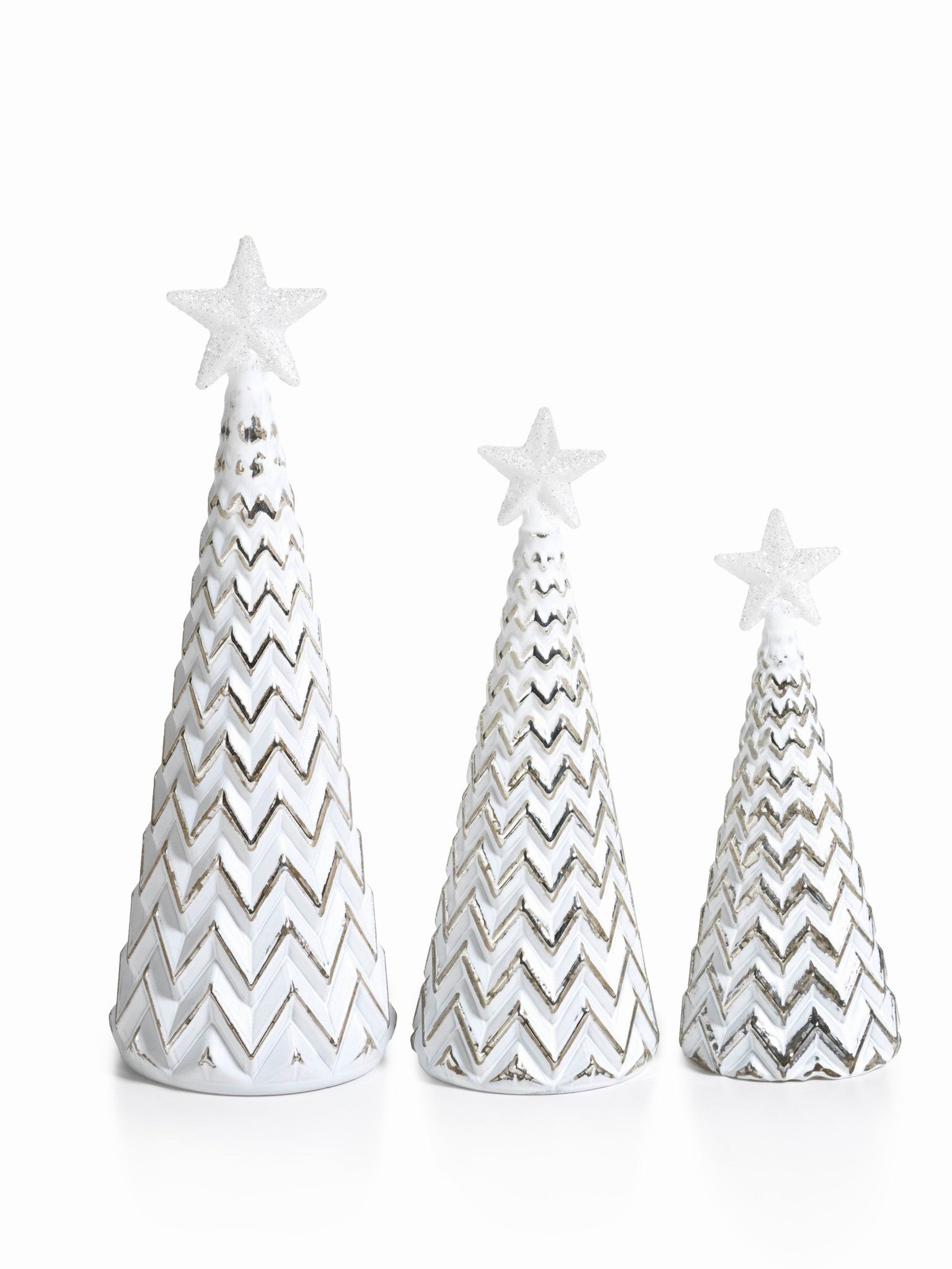 LED Glass Decorative Tree - Silver - Set of 6 -  - CARLYLE AVENUE - 6