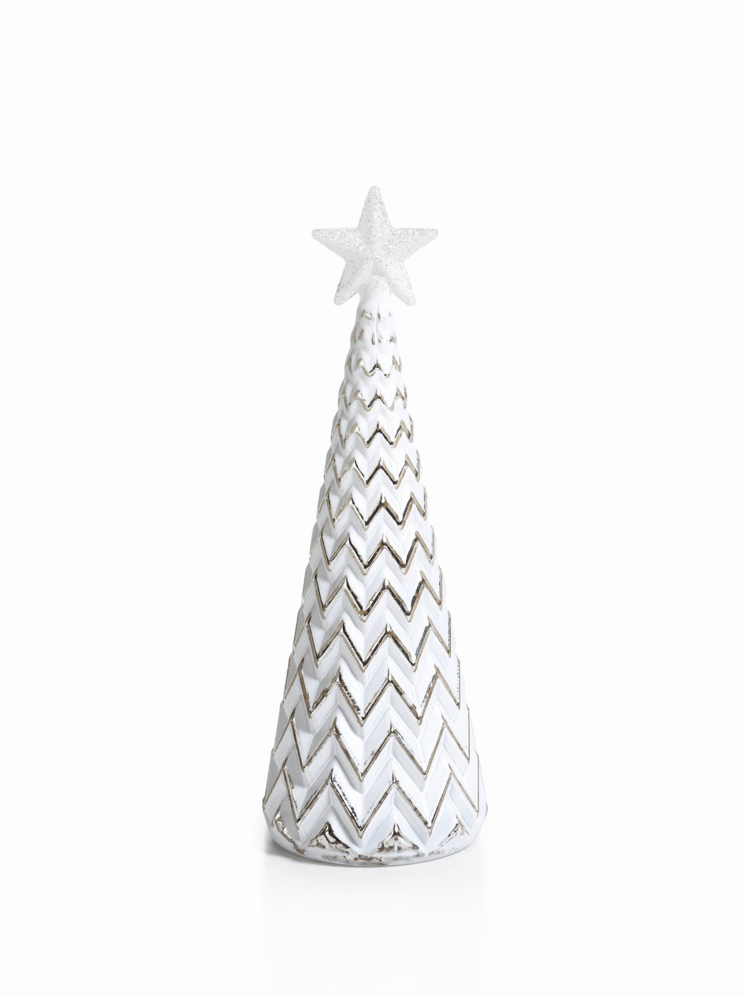 LED Glass Decorative Tree - Silver - Set of 6 - Large / ZigZag - CARLYLE AVENUE - 9