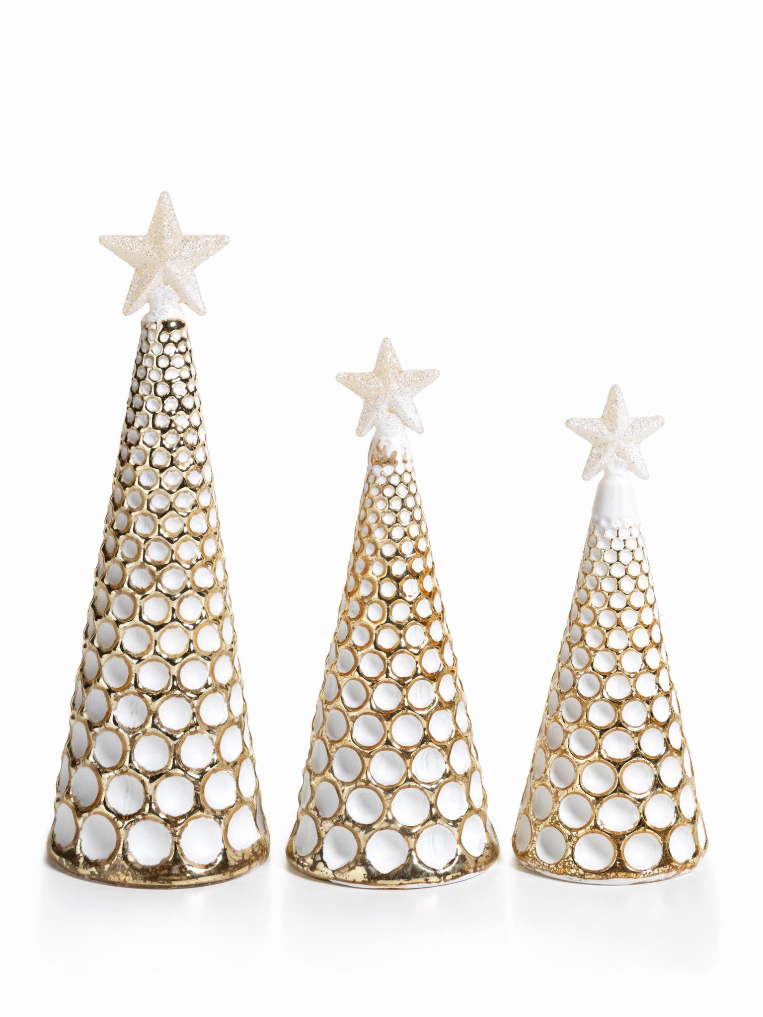 LED Glass Decorative Tree - Gold - Set of 6 -  - CARLYLE AVENUE - 14