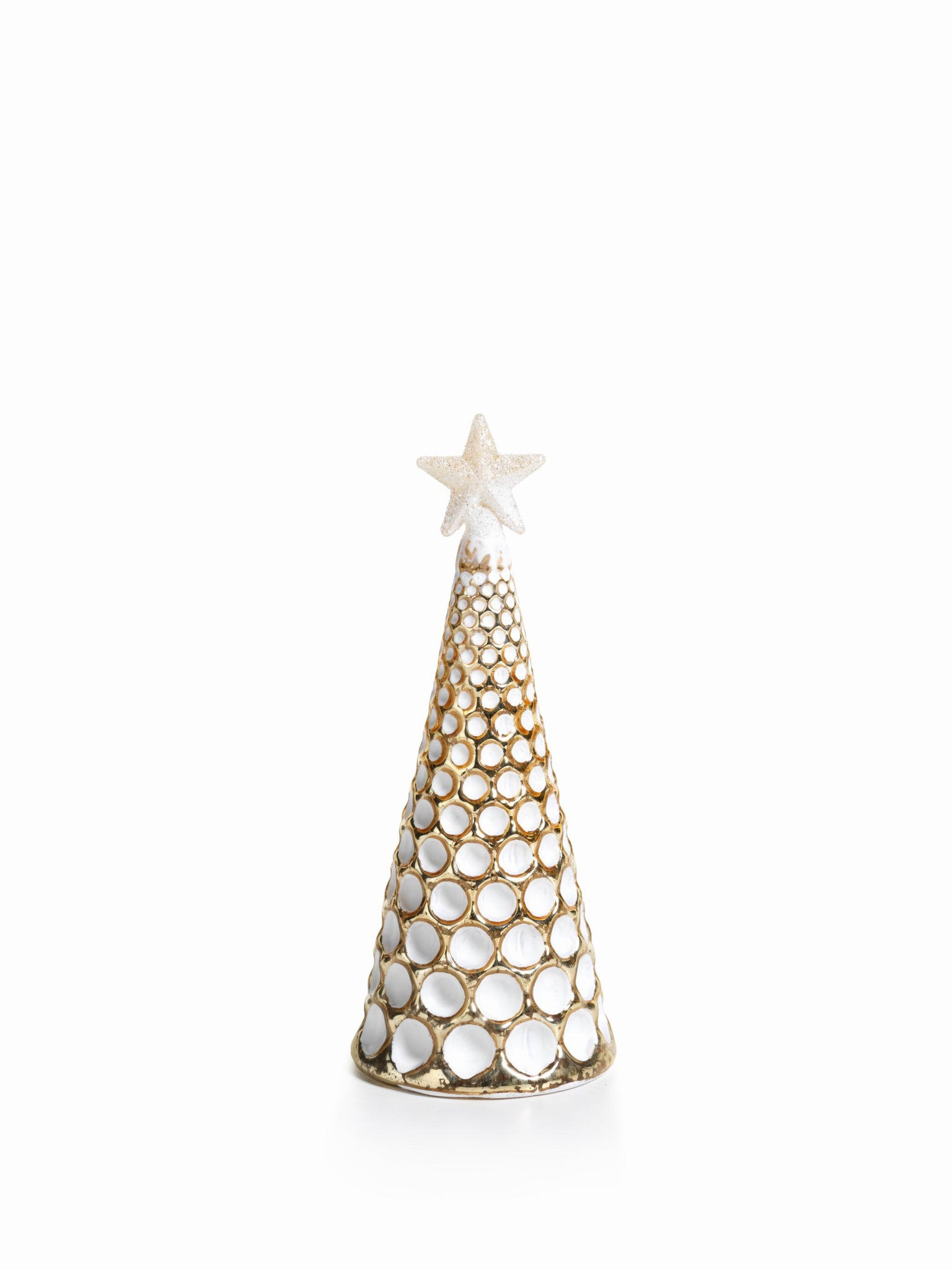 LED Glass Decorative Tree - Gold - Set of 6 - Medium / Dimple Cut - CARLYLE AVENUE - 16
