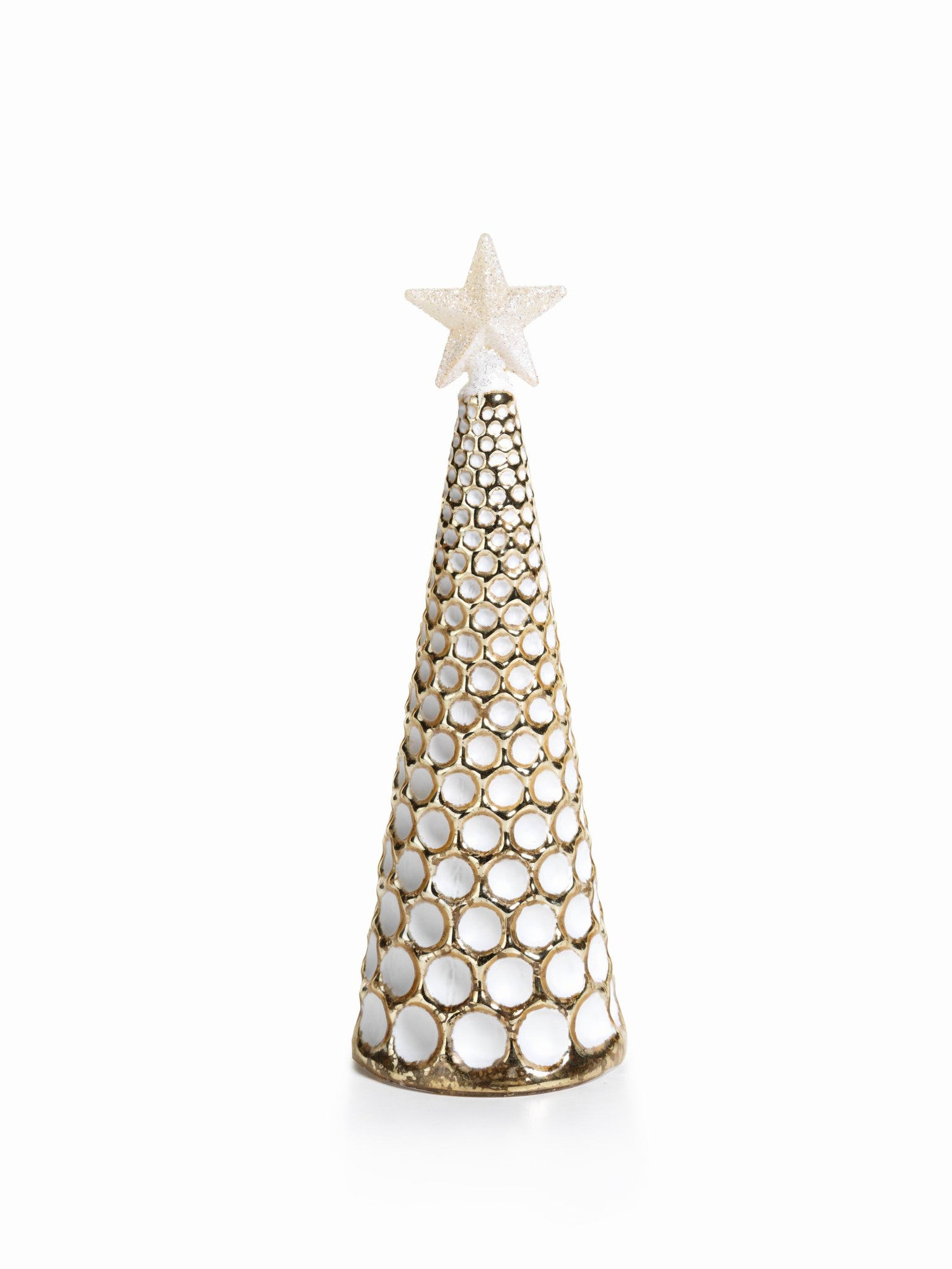 LED Glass Decorative Tree - Gold - Set of 6 - Large / Dimple Cut - CARLYLE AVENUE - 17
