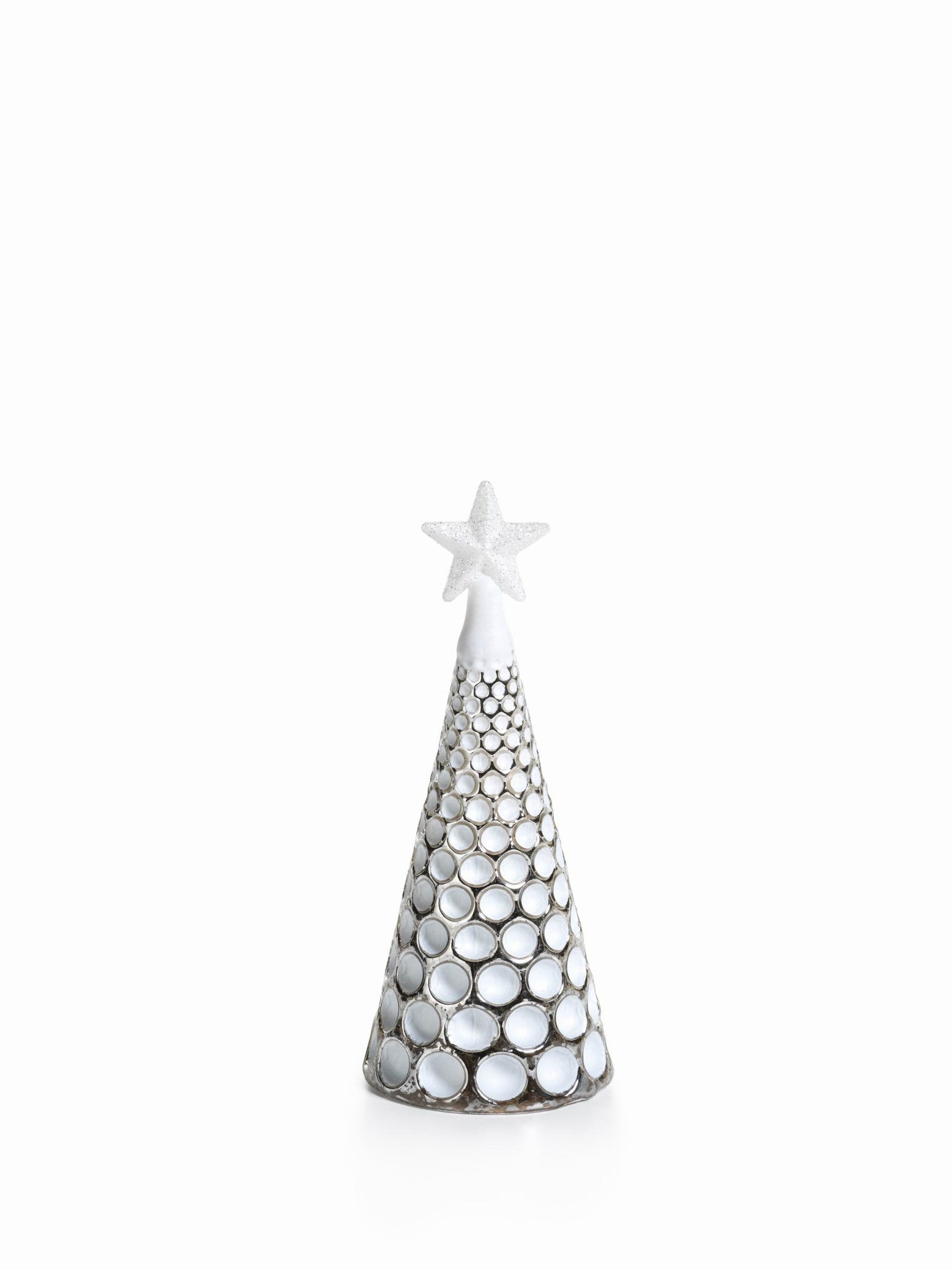 LED Glass Decorative Tree - Silver - Set of 6 - Small / Dimple Cut - CARLYLE AVENUE - 15