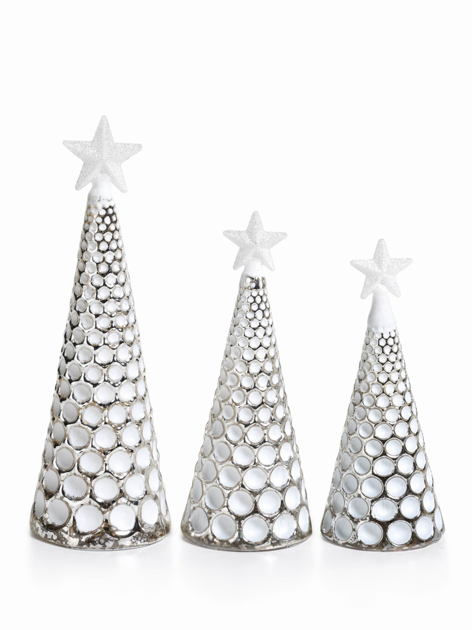 LED Glass Decorative Tree - Silver - Set of 6 -  - CARLYLE AVENUE - 14