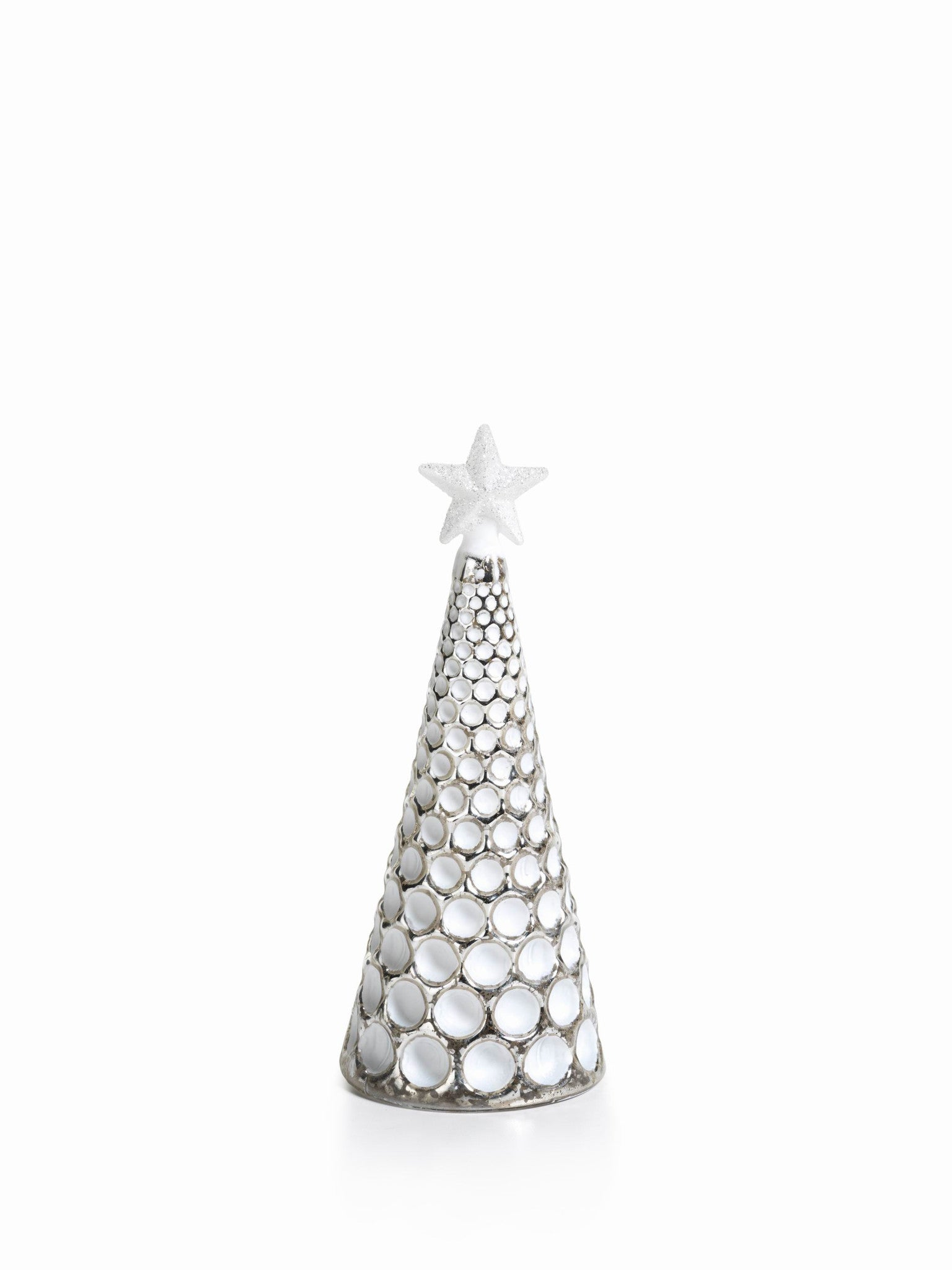 LED Glass Decorative Tree - Silver - Set of 6 - Medium / Dimple Cut - CARLYLE AVENUE - 16