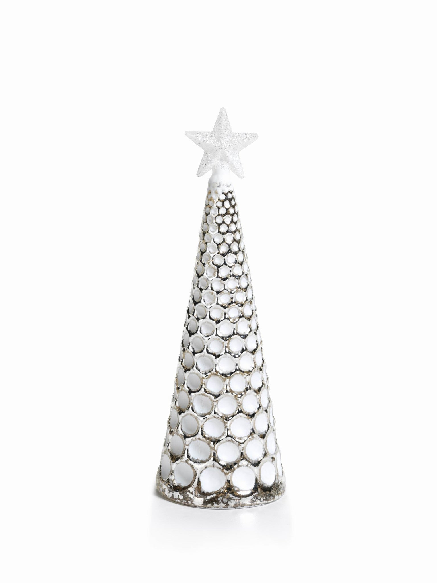 LED Glass Decorative Tree - Silver - Set of 6 - Large / Dimple Cut - CARLYLE AVENUE - 17
