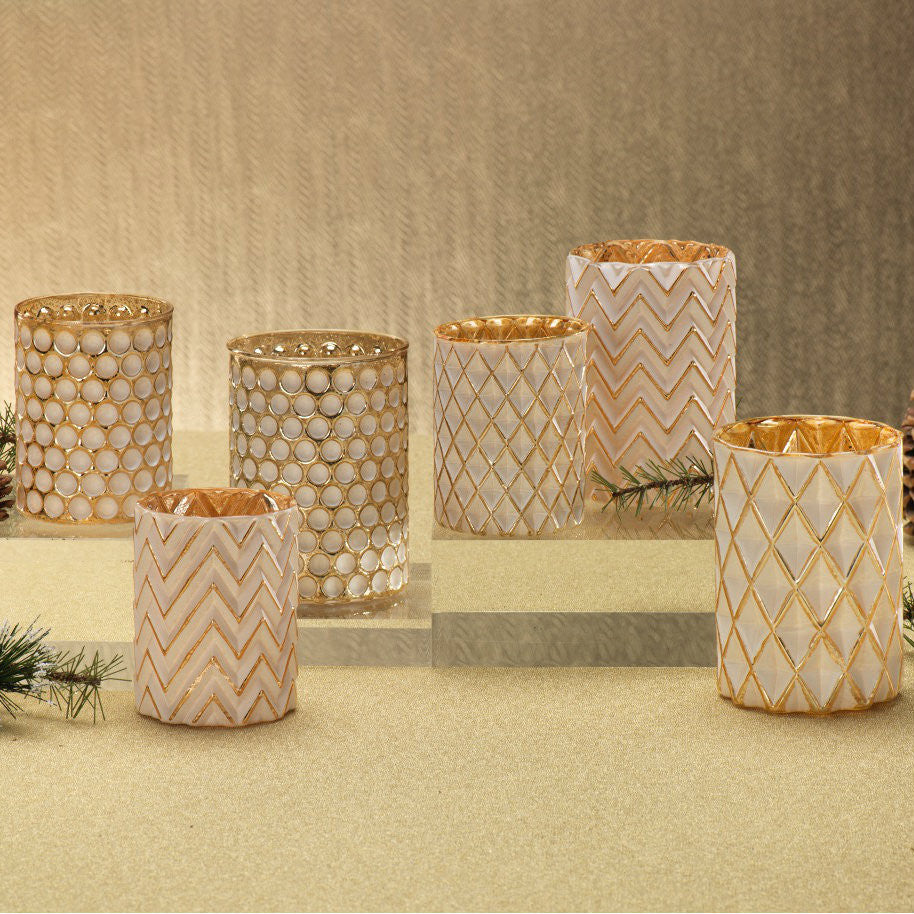 Decorative Glass Votive Holders - Set of 4 - CARLYLE AVENUE