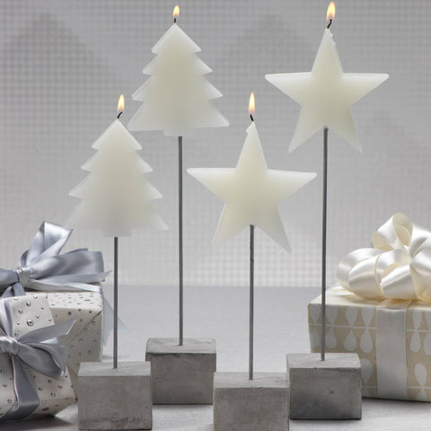Tree and Star Candle on Stick - Set of 4