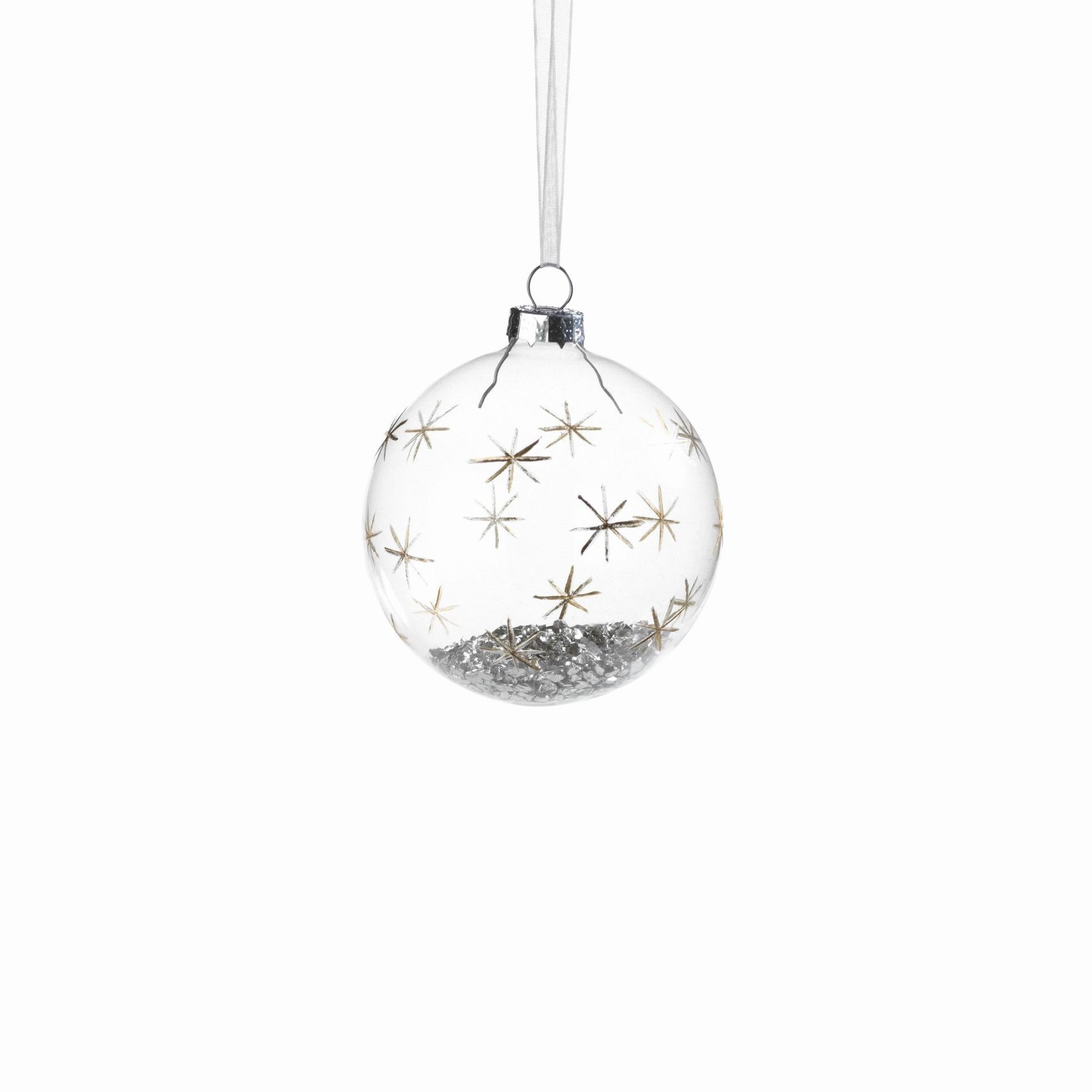 Clear Ball with Silver Confetti and Decor - CARLYLE AVENUE