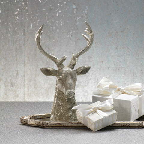 Wall / Tabletop Stag Head - Silver