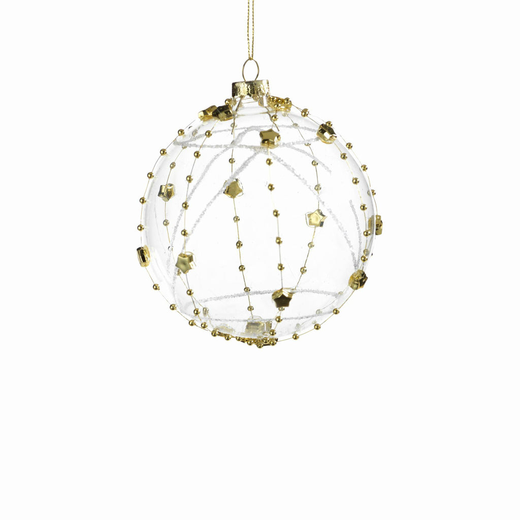 Clear Ball Ornament Wrapped with Stars - Gold - Small - CARLYLE AVENUE - 2