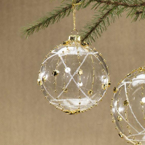 Clear Ball Ornament Wrapped with Stars - Gold