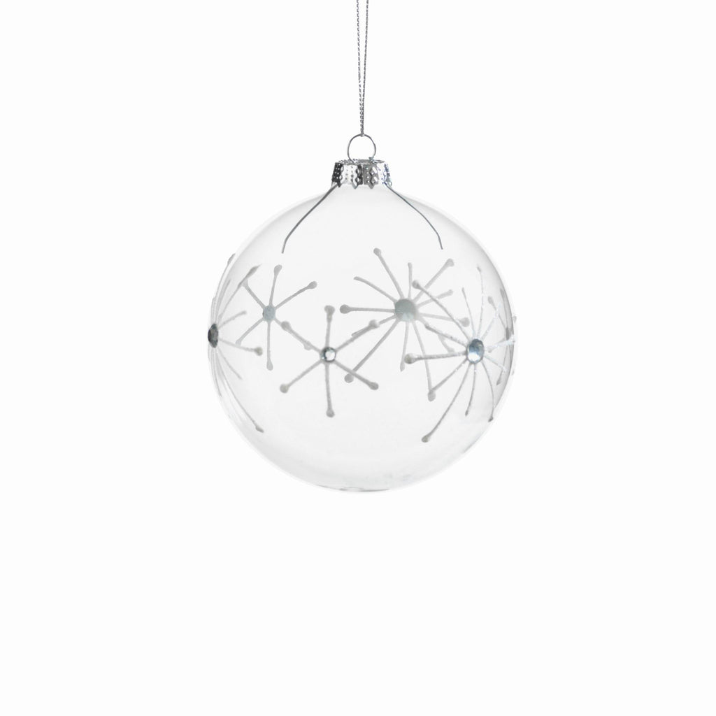 Clear Ball Ornament with White Starburst Design - Small - CARLYLE AVENUE - 2