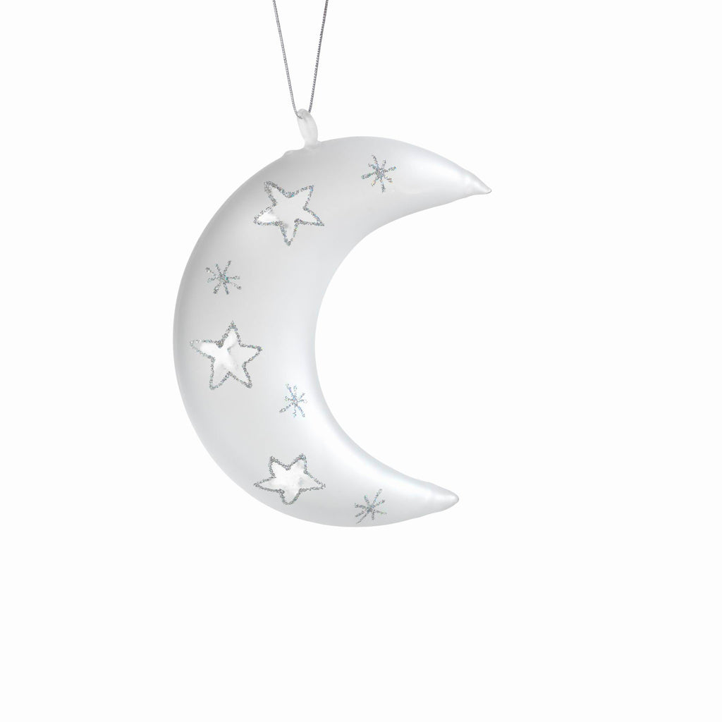 Crescent Moon Ornaments - Set of 6 - Frosted / Silver - CARLYLE AVENUE - 2