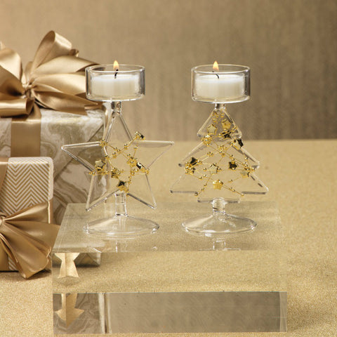 Clear Glass Star Tealight Holder with Gold Beads - Set of 6