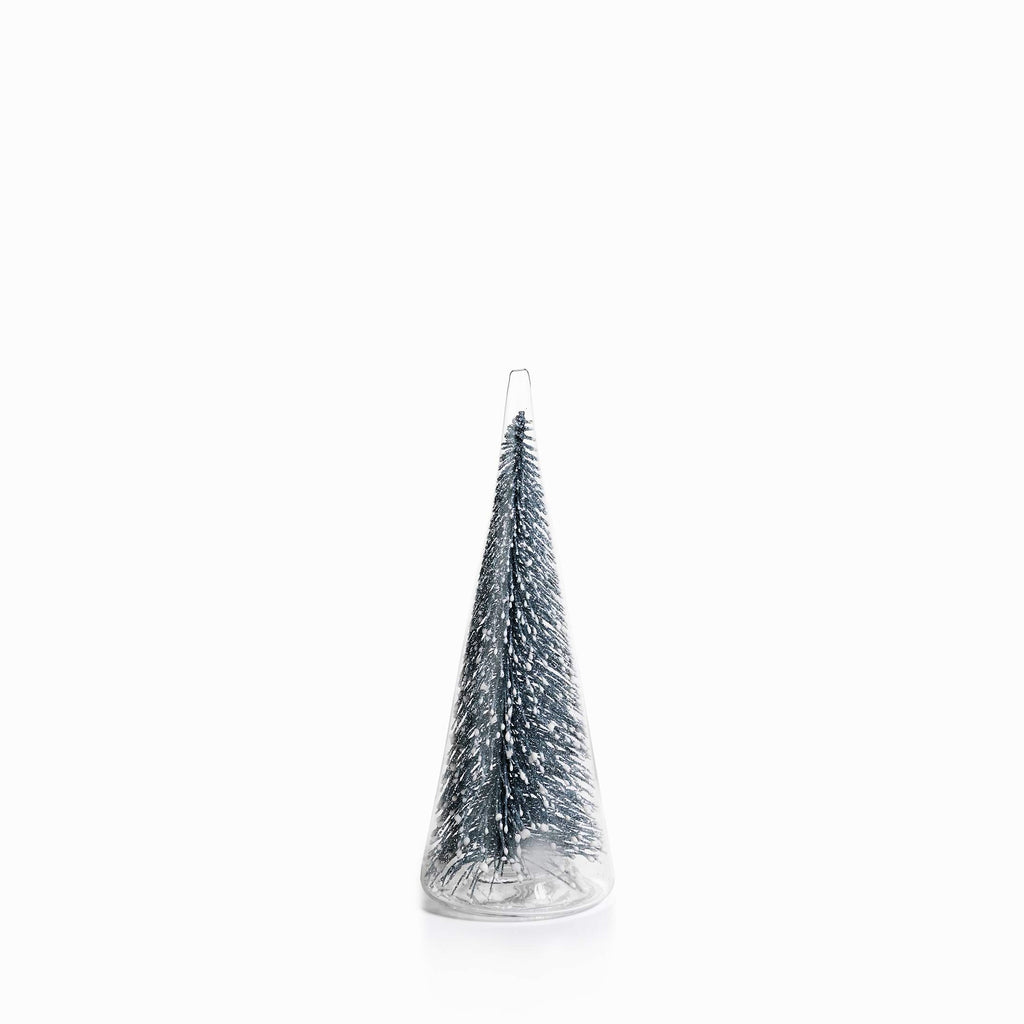 Clear Glass Decorative Tree w/Silver Glitter