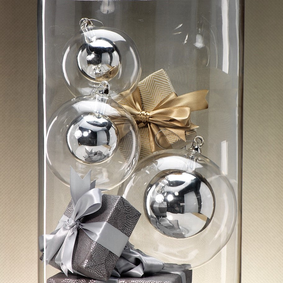 Double Glass Ball Ornament - Silver