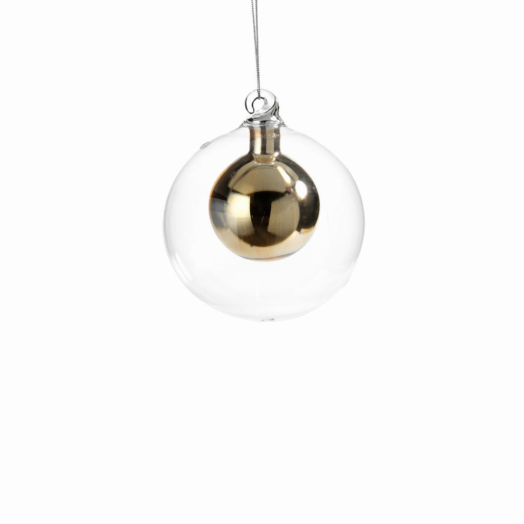 Double Glass Ball Ornament - Gold