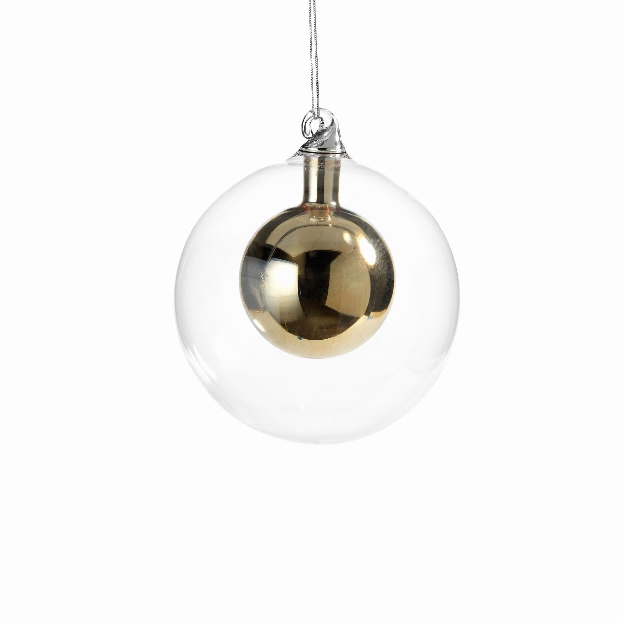 Double Glass Ball Ornament - Gold - CARLYLE AVENUE