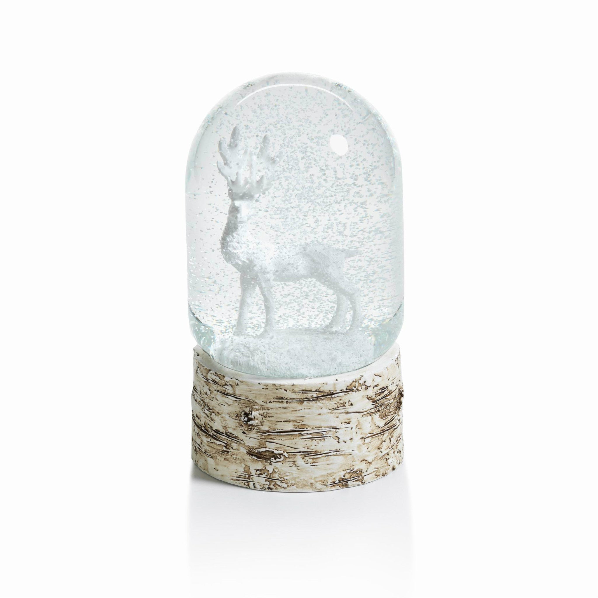 Snow Globe on Birch with White Moose - CARLYLE AVENUE