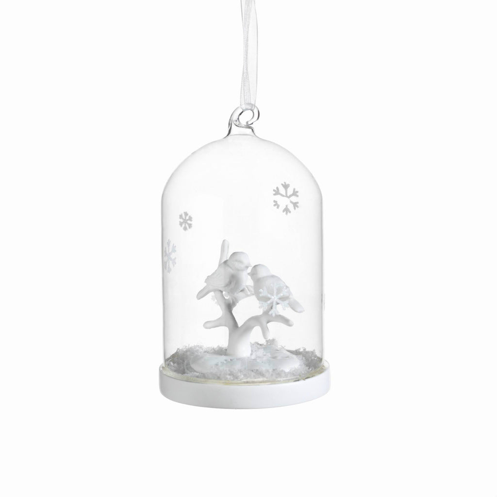 Clear Glass Dome Ornament with White Birds - Set of 6 - Large - CARLYLE AVENUE - 3