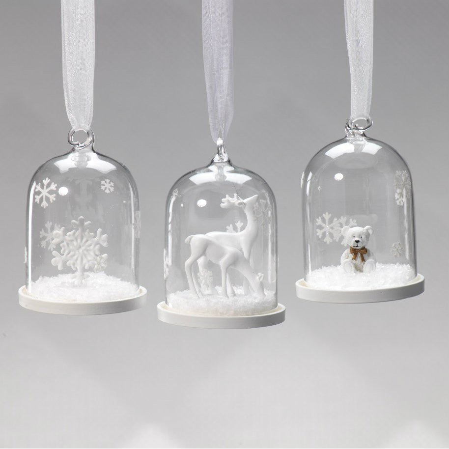 Clear Glass Dome Ornaments - Set of 6 - CARLYLE AVENUE
