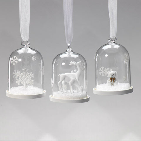 Clear Glass Dome Ornaments - Set of 6