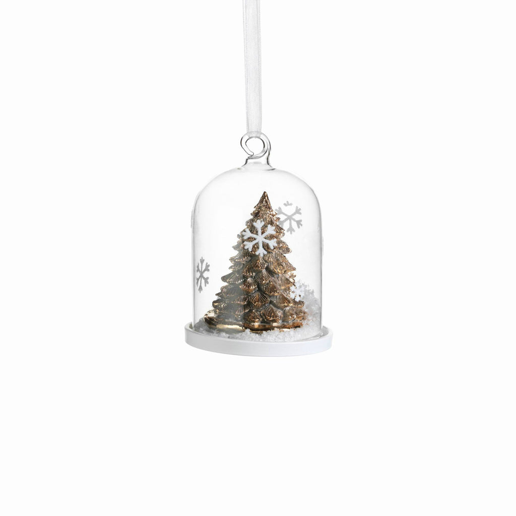 Clear Glass Dome Ornament with Gold Tree - Set of 6 - Small - CARLYLE AVENUE - 2