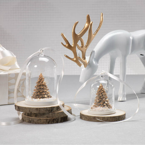 Clear Glass Dome Ornament with Gold Tree - Set of 6