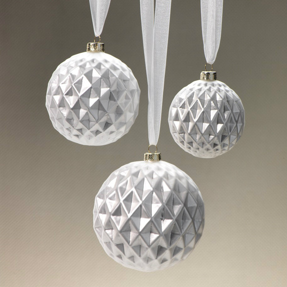 Diamond Cut Ball Ornaments - Silver - Set of 12 -  - CARLYLE AVENUE