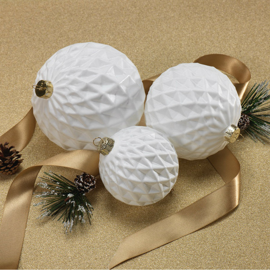 Diamond Cut Ball Ornaments - White - Set of 12 -  - CARLYLE AVENUE