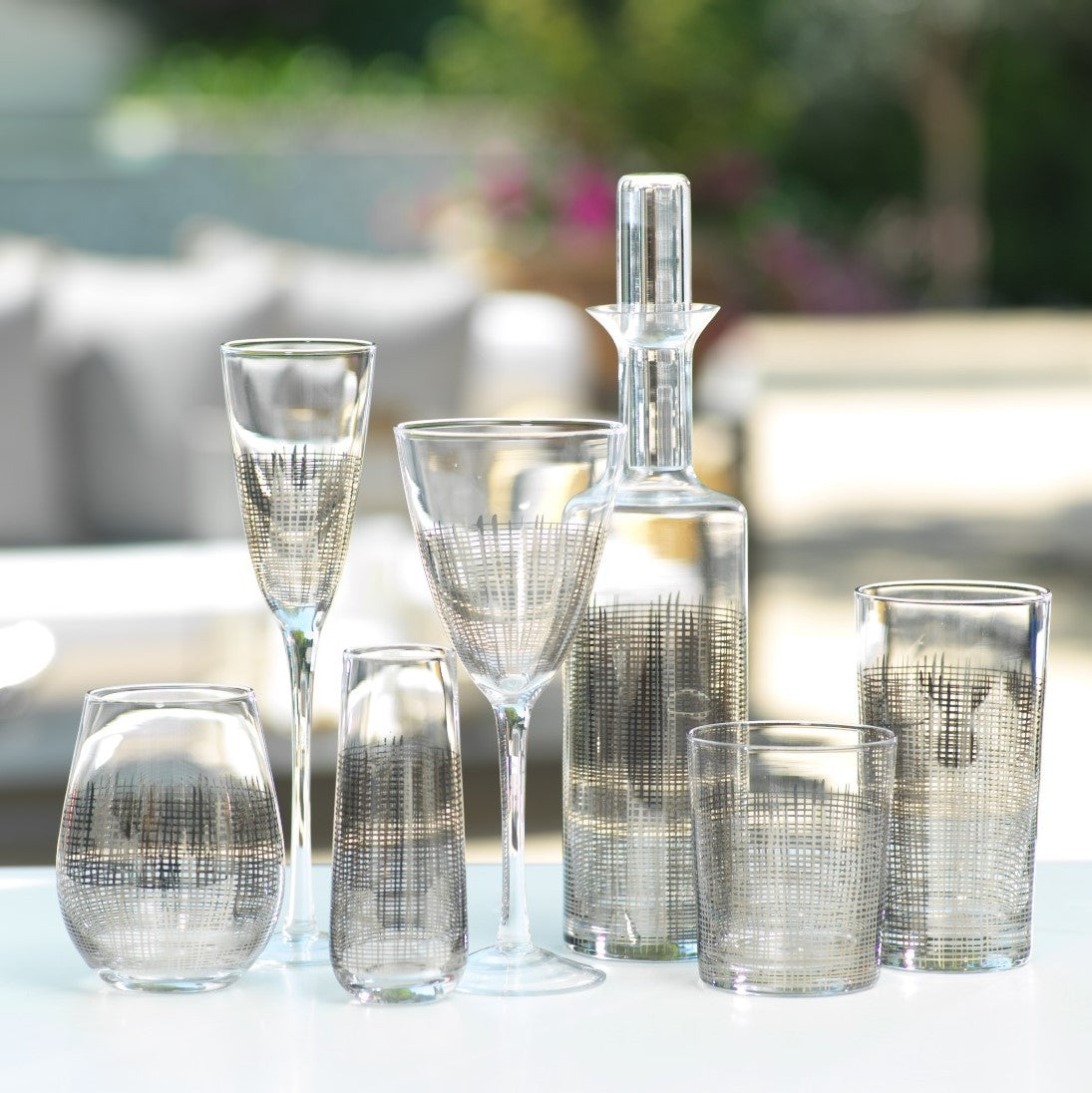 Platinum Crosshatch Glassware -  - CARLYLE AVENUE - 1