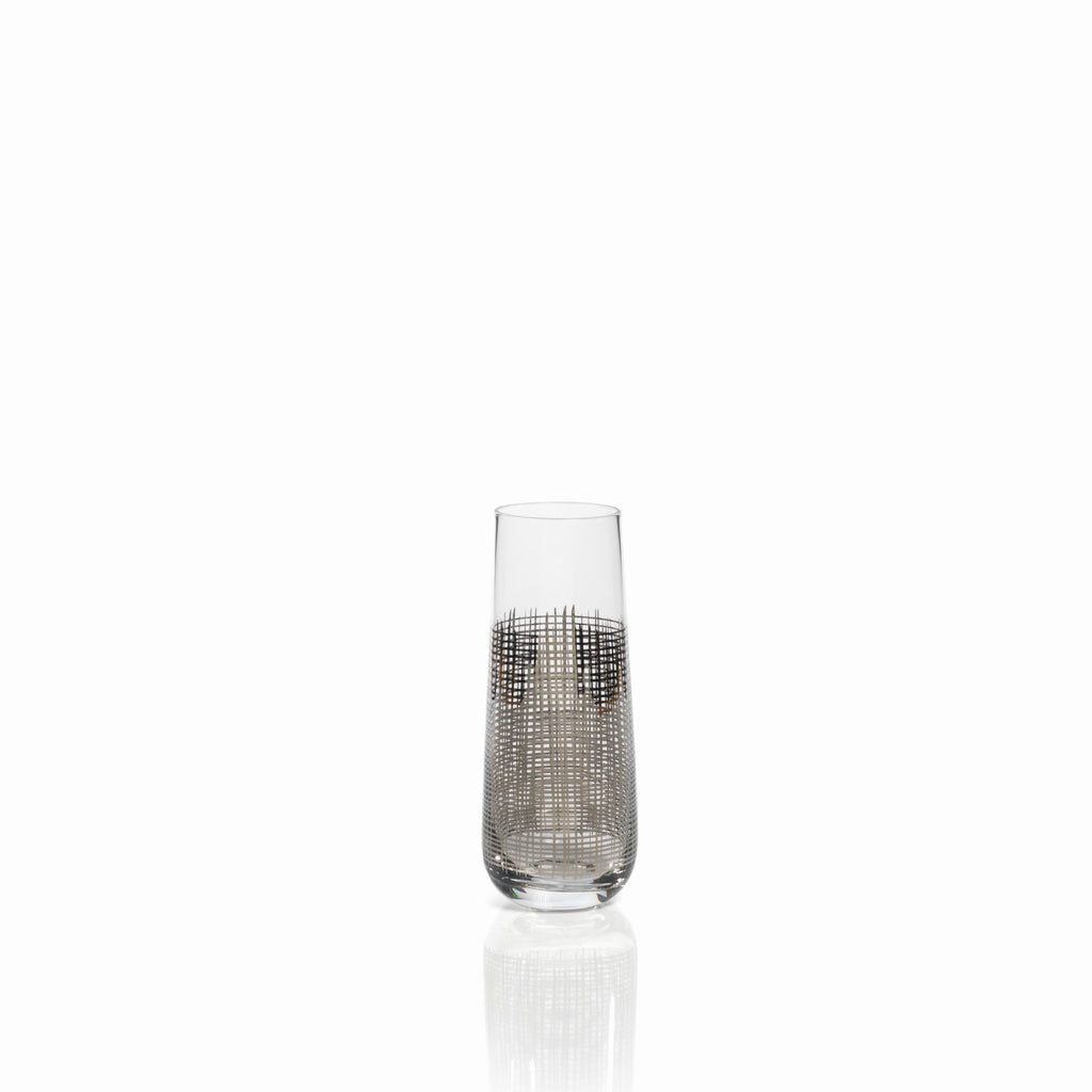 Platinum Crosshatch Glassware - Stemless Champagne Flute - CARLYLE AVENUE - 2
