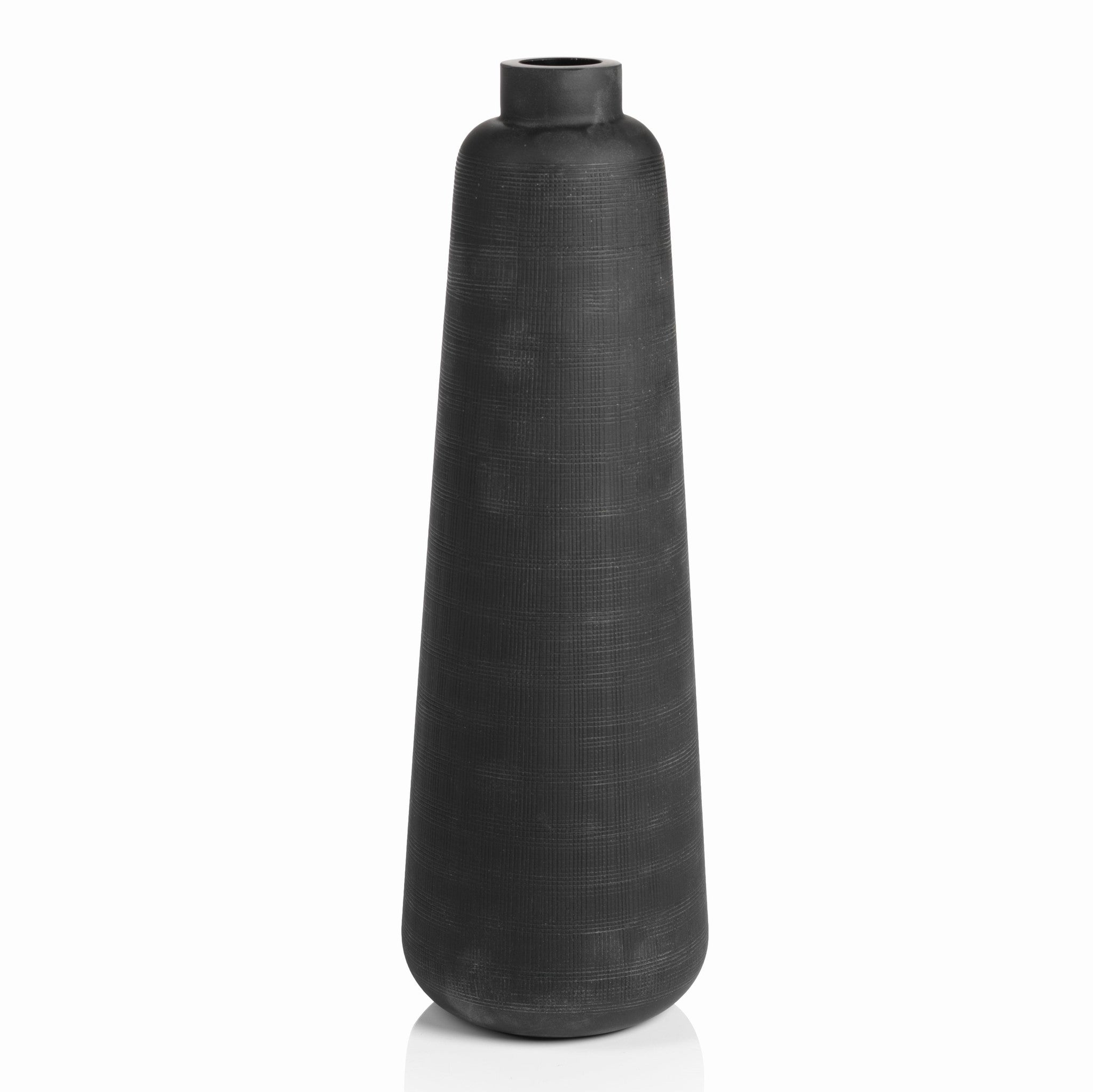 Tall Etched Black Glass Vase - CARLYLE AVENUE