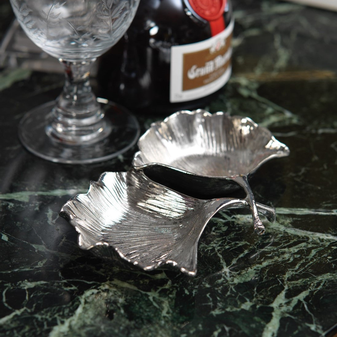 Ginko Leaf Condiment Set - Pewter - CARLYLE AVENUE