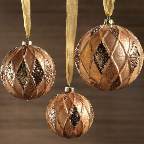 Antique Gold Ball Ornament w/Paillette Design