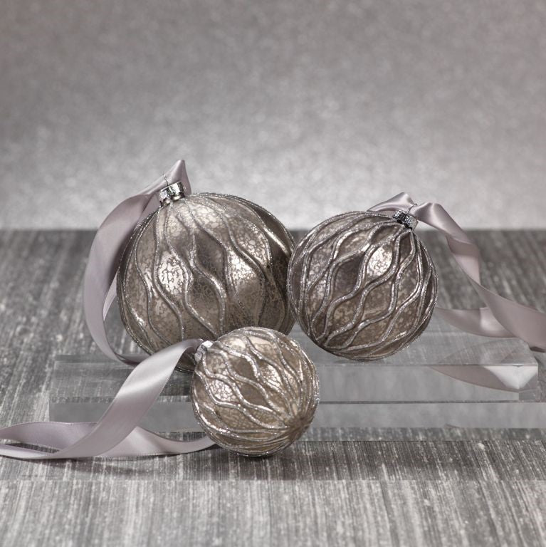 Antique Grey Ball Ornament w/Paillette Design - CARLYLE AVENUE