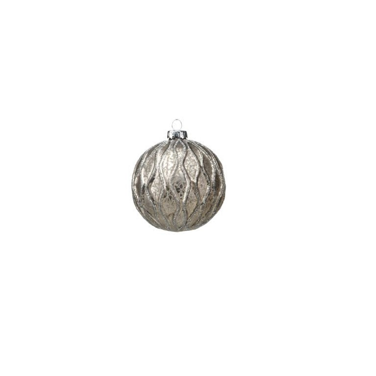 Antique Grey Ball Ornament w/Paillette Design