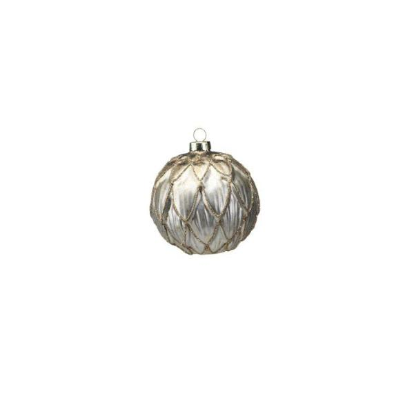 Antique Gold Ball Ornament w/ Embossed Leaf - CARLYLE AVENUE