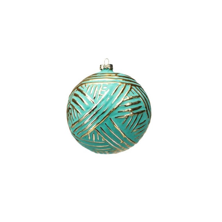 Turquoise Ball Ornament W/Gold Brush
