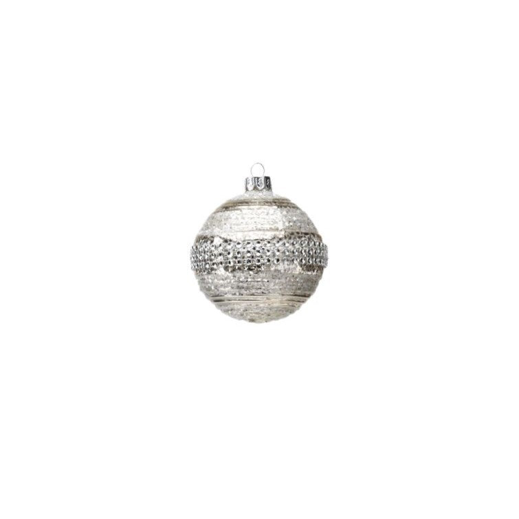 Antique Silver Ball Ornament w/ Glitter & Beads