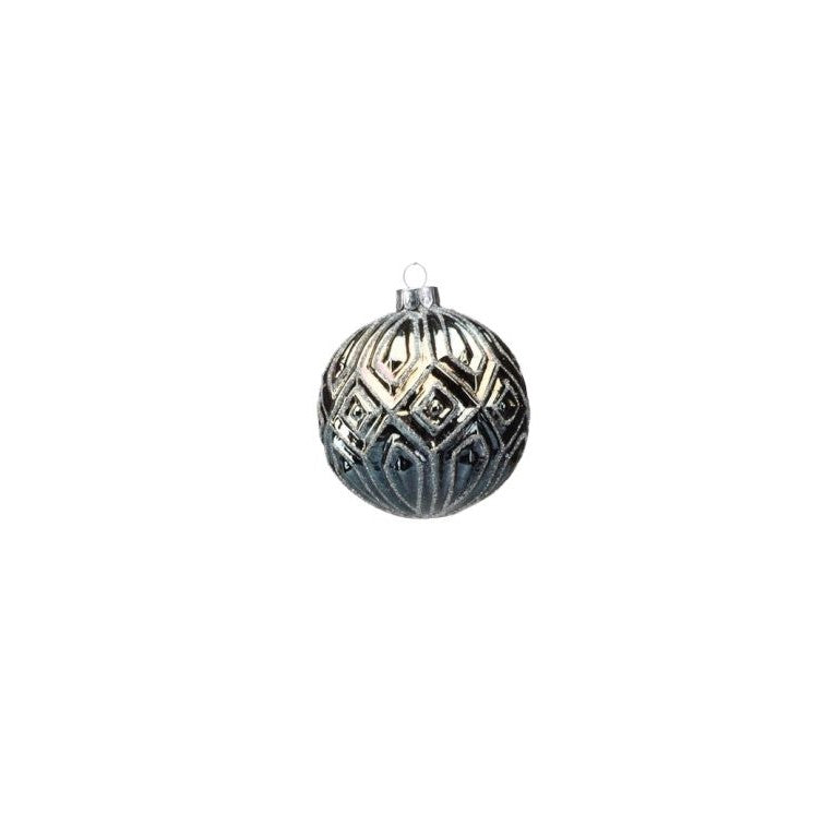 Deep Blue Patterned Ball Ornament