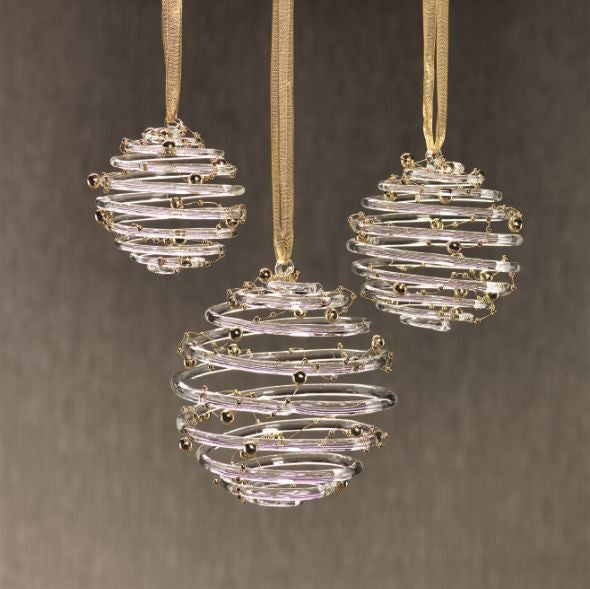 Clear Ring Ornament w/Gold Beads - Set of 6 - CARLYLE AVENUE