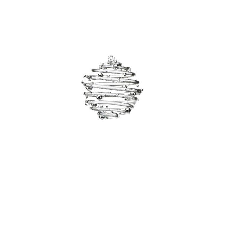 Clear Ring Ornament w/Silver Beads - Set of 6 - CARLYLE AVENUE