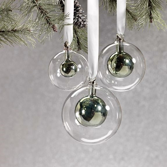 Double Glass Ball Ornament - Green - CARLYLE AVENUE